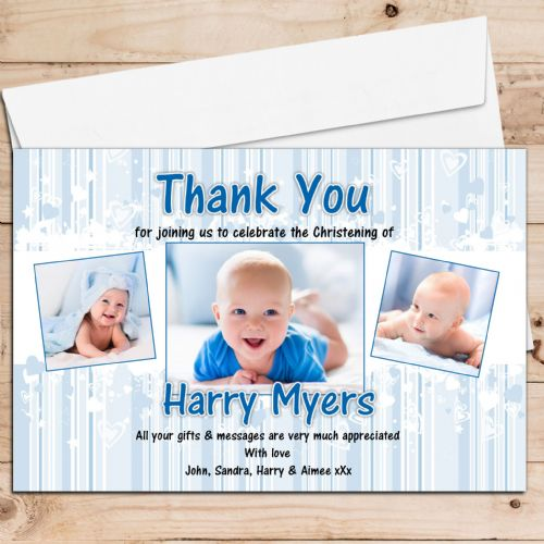 10 Personalised Christening / Baptism Thank you PHOTO Cards N225 - Blue hearts